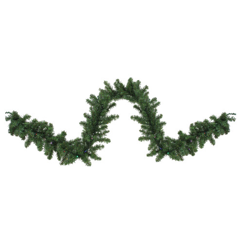 "9' x 10"" Green Pre-Lit Battery Operated LED Pine Artificial Christmas Garland - Multi Lights - IMAGE 1"