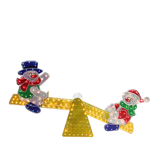 "48"" Yellow and Red Pre-Lit Holographic Snowmen on See Saw Outdoor Christmas Decor - IMAGE 1"