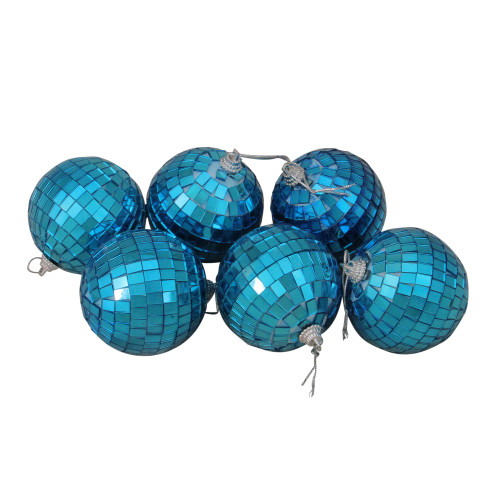 """6ct Peacock Blue Mirrored Glass Disco Ball Christmas Ornaments 2.75"""" 70mm - IMAGE 1"""