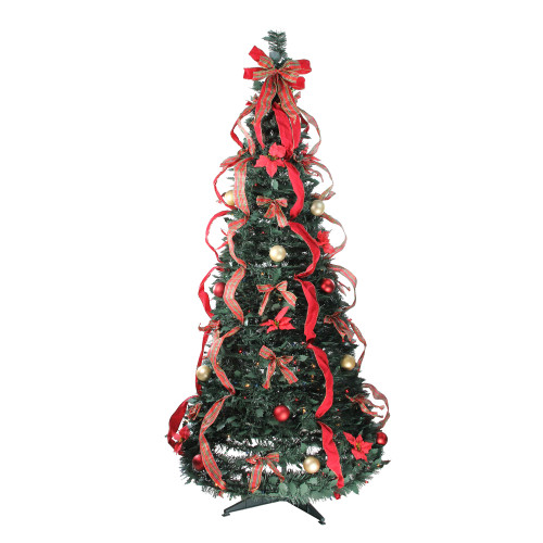 6' Pre-Lit Red and Gold Plaid Pre-Decorated Pop-Up Artificial Christmas Tree - IMAGE 1