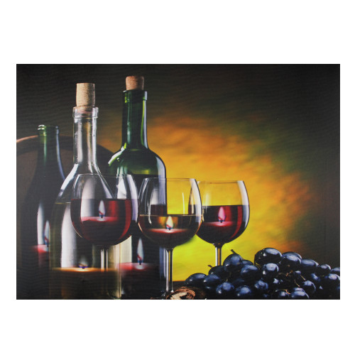 """15.75"""" LED Lighted Flickering Wine, Grapes and Candles Canvas Wall Art 11.75"""" x 15.75"""" - IMAGE 1"""