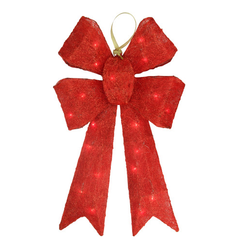 """24"""" Lighted Sparkling Red Sisal Double Bow Outdoor Christmas Decoration - IMAGE 1"""