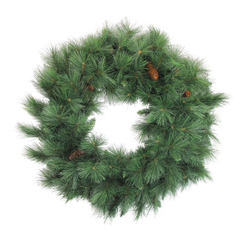 Green and Brown Valley Pine Artificial Christmas Wreath - 36-Inch, Unlit - IMAGE 1