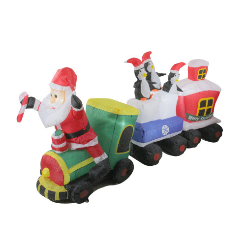 6.5' Red and Green Inflatable Santa and Penguins on Train Lighted Outdoor Christmas Decoration - IMAGE 1
