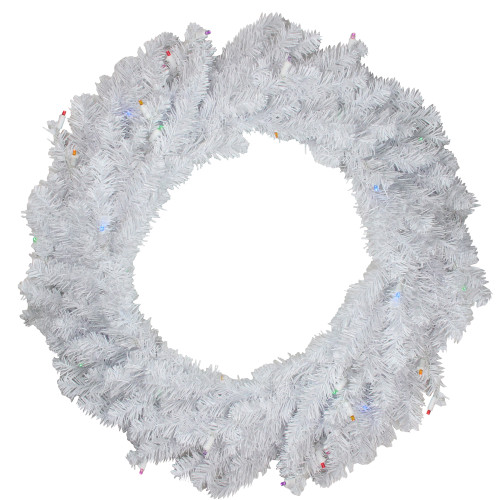 Pre-Lit Pine Battery Operated LED Artificial Christmas Wreath - 36-Inch, Multicolor Lights - IMAGE 1