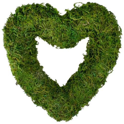 Reindeer Moss Heart Twig Artificial Wreath, Green 13.5-Inch - IMAGE 1