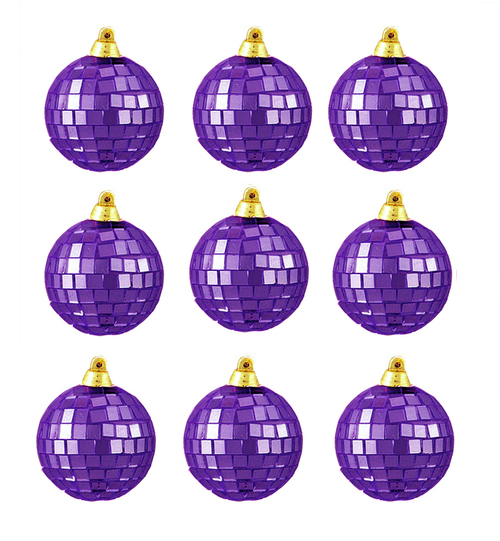 "9ct Purple Mirrored Glass Disco Ball Christmas Ornaments 1.5"" (40mm) - IMAGE 1"
