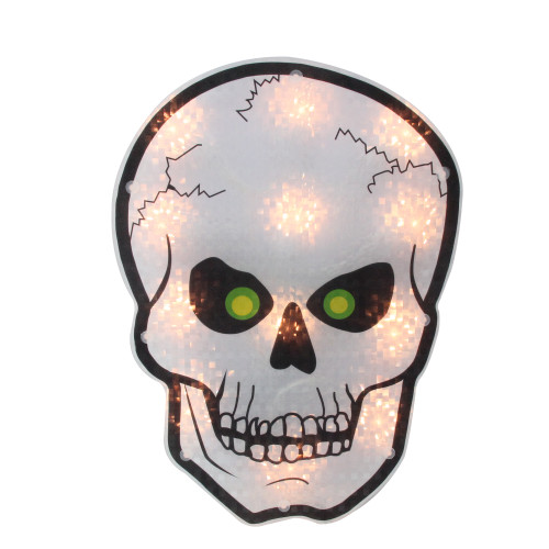 """12"""" Silver and Black Holographic Lighted Skull Halloween Window Silhouette Decoration - IMAGE 1"""