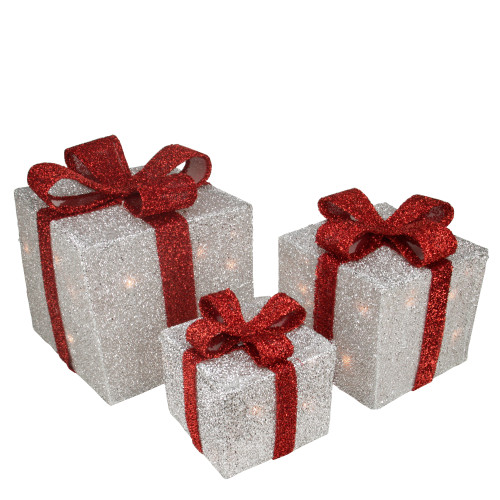 Set of 3 Silver Tinsel Lighted Gift Boxes with Red Bows Outdoor Christmas Decorations - IMAGE 1