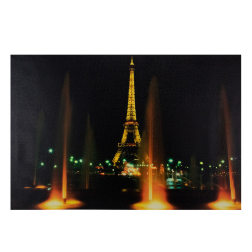 """23.75"""" LED Lighted Famous Eiffel Tower Paris France at Night Canvas Wall Art - IMAGE 1"""