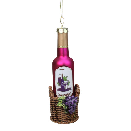 "6.25"" Pink and Brown Wine Bottle Hanging Christmas Ornament - IMAGE 1"