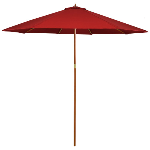 8' Outdoor Patio Market Umbrella - Red and Cherry Wood - IMAGE 1