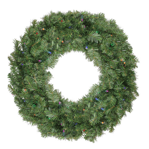 Pre-Lit Canadian Pine Artificial Christmas Wreath - 24-Inch, Multi Lights - IMAGE 1