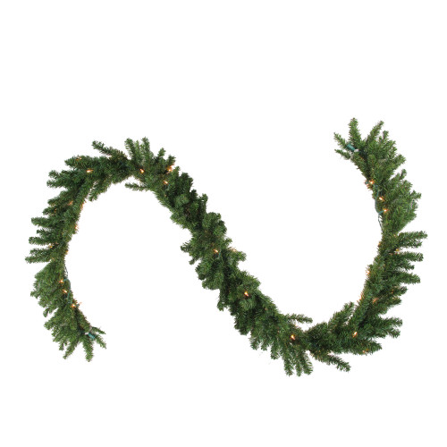 """9' x 14"""" Pre-Lit Canadian Pine Artificial Christmas Garland - Clear Lights - IMAGE 1"""