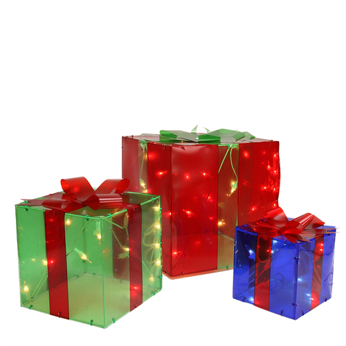 "Set of 3 Red and Green Lighted Gift Box Outdoor Patio Christmas Decor 10"" - IMAGE 1"