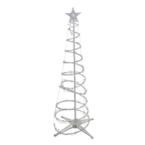 5' Pure White LED Lighted Spiral Cone Tree Outdoor Christmas Decoration - IMAGE 1