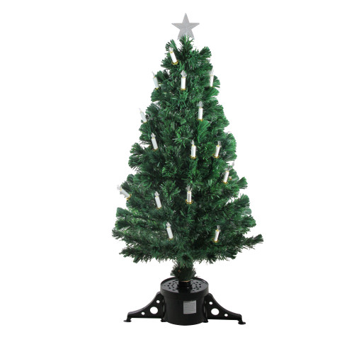 4' Pre-Lit Fiber Optic Artificial Christmas Tree with Candles - Multi Lights - IMAGE 1