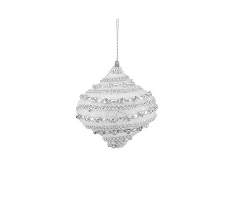 """3ct White and Silver Glittered Shatterproof Christmas Onion Drop Ornaments 3"""" (75mm) - IMAGE 1"""