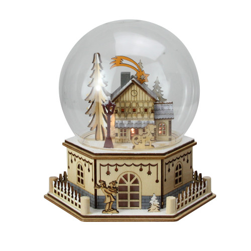 "8.75"" Christmas LED Wood Cut Town Table Top Dome Decoration - IMAGE 1"