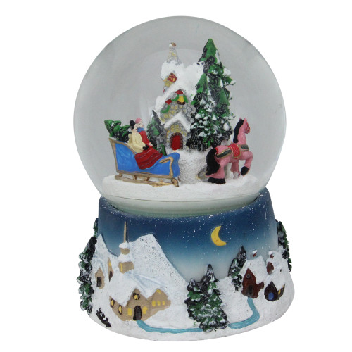 """5.5"""" Animated Musical Country Winter Sleigh Ride Water Globe - IMAGE 1"""