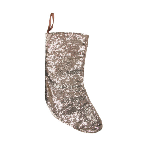 """17.5"""" Beige Paillette Sequins Hanging Christmas Stocking - IMAGE 1"""