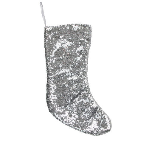 """17.5"""" White and Gray Sequins Hanging Christmas Stocking - IMAGE 1"""