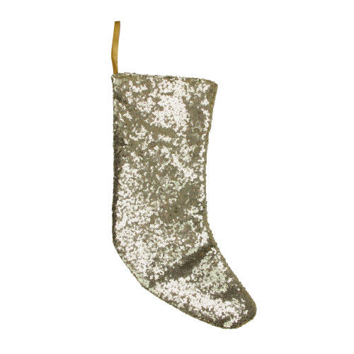 """17.5"""" Gray and White Sequins Accented Christmas Stocking - IMAGE 1"""