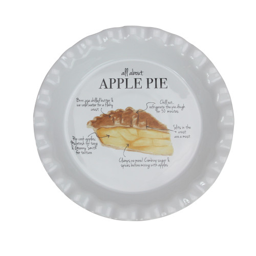 """9"""" Ivory """"All About Apple Pie"""" Autumn Thanksgiving Plate - IMAGE 1"""