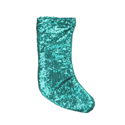 """17.5"""" Teal Green Paillette Sequins Hanging Christmas Stocking - IMAGE 1"""