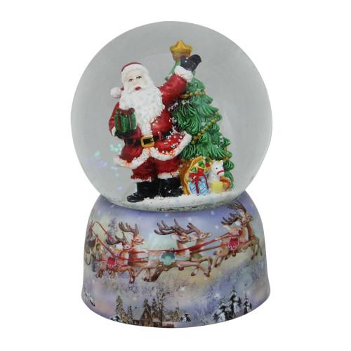 """6"""" Musical Waving Santa Claus and Christmas Tree Water Globe - IMAGE 1"""