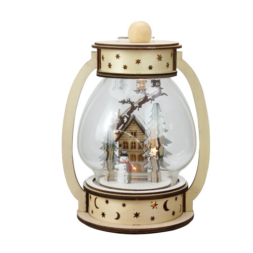 "9.75"" Clear and Beige LED Woodland Christmas Dome Lantern Tabletop Decoration - IMAGE 1"