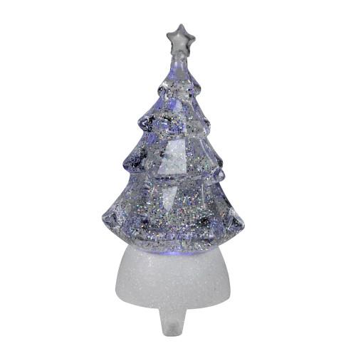 "9.5"" Clear LED Glitter Swirl Christmas Tree Stocking Holder - IMAGE 1"
