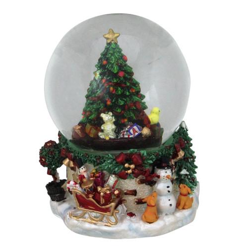 "7"" Musical Christmas Tree and Presents Snow Globe - IMAGE 1"