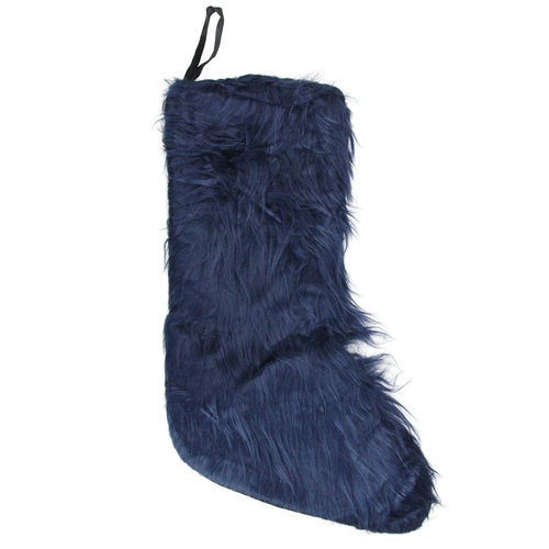 "17.5"" Navy Blue Solid Soft Plush Christmas Stocking - IMAGE 1"