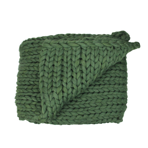 """Hunter Green Cable Knit Plush Throw Blanket 50"""" x 60"""" - IMAGE 1"""