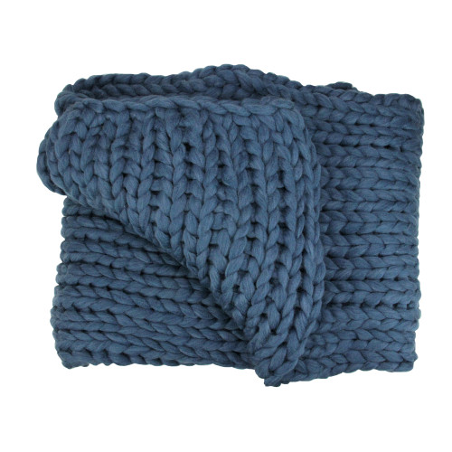"""Navy Blue Traditional Cable Knit Plush Throw Blanket 50"""" x 60"""" - IMAGE 1"""