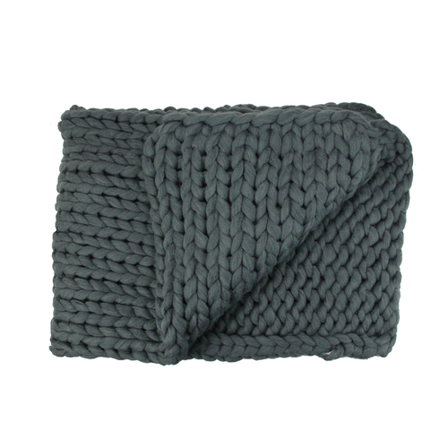 "Smokey Gray Cable Knit Plush Throw Blanket 50"" x 60"" - IMAGE 1"