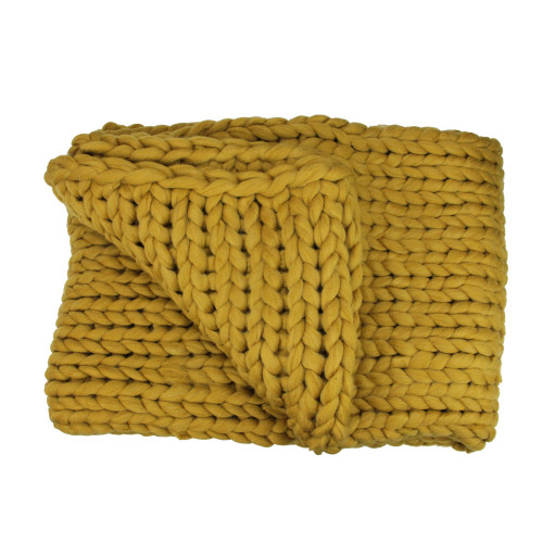Golden Mustard Cable Knit Plush Throw Blanket 50 x 60 - IMAGE 1