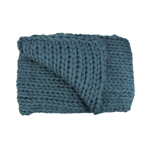 """Teal Blue Cable Knit Plush Throw Blanket 50"""" x 60"""" - IMAGE 1"""