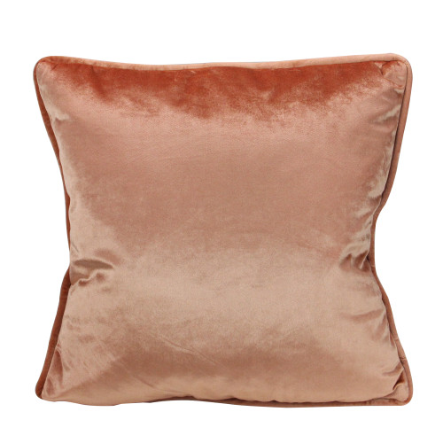 """17"""" Peach Plush Velvet Square Throw Pillow With Piped Edging - IMAGE 1"""