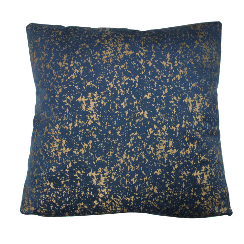 """17"""" Navy Blue with Gold Foil Crackle Square Velvet Throw Pillow - IMAGE 1"""