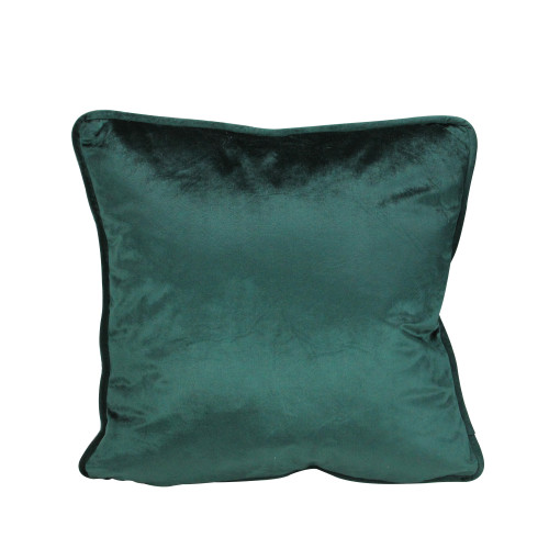"""17"""" Hunter Green Velvet Plush Square Throw Pillow with Piped Edging - IMAGE 1"""