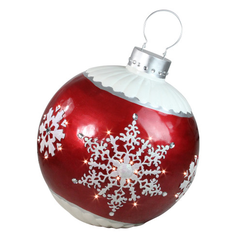 """26.5"""" LED Lighted Red Ball Christmas Ornament with Snowflake Outdoor Decoration - IMAGE 1"""