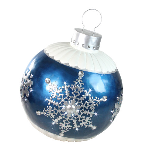 "37"" LED Lighted Blue Ball Christmas Ornament with Snowflake Outdoor Decoration - IMAGE 1"