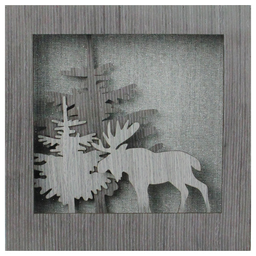"""10"""" Glittered Moose Silhouette Box Framed Christmas Table Decoration - IMAGE 1"""