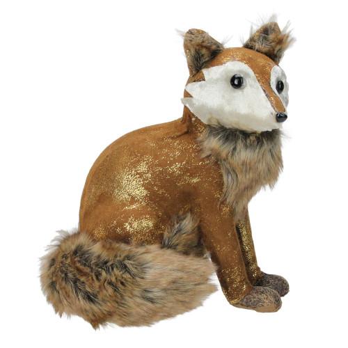 "10.25"" Plush Brown Sitting Fox Figure Animal Decoration - IMAGE 1"