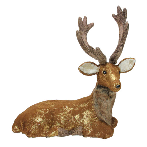 "16.5"" Brown and Gold Reindeer Lying Down Christmas Table Figure - IMAGE 1"
