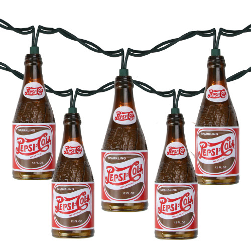 10-Count Brown and Red Vintage Pepsi Bottle Novelty Christmas Light Set, 8.5ft Green Wire - IMAGE 1
