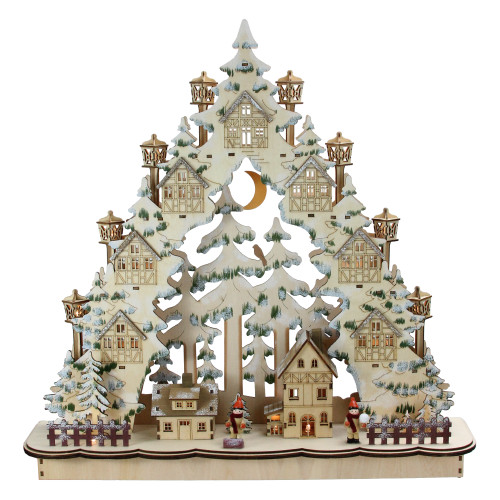 "18.75"" LED Cut Woodland Town in a Tree Christmas Tabletop Decor - IMAGE 1"