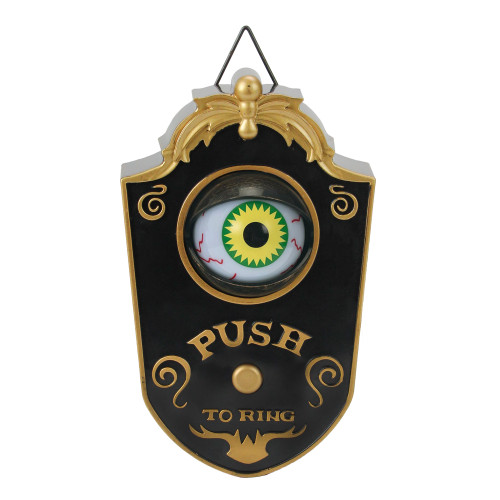 "7"" Gold and Black LED Spooky Eyeball Doorbell Halloween Decoration - IMAGE 1"